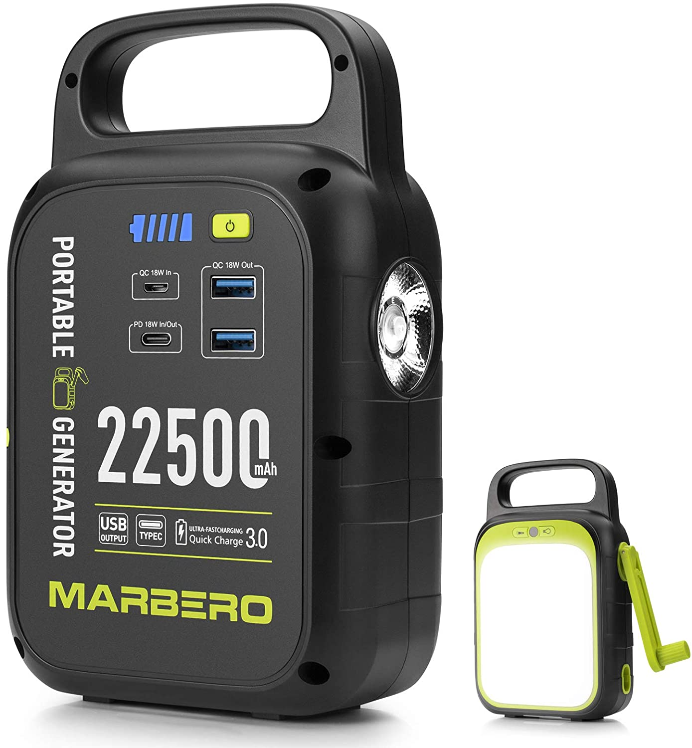 MARBERO 22500mAh Portable Charger with Bright LED Flashlight for Black