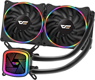 darkFlash DT240 240mm Water Liquid Cooling AIO Cooler Radiator with 120mm LED Rainbow Lighting Case Fan CPU Cooler (DT240 ...
