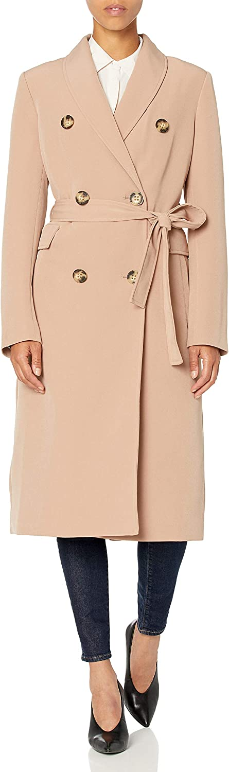 Calvin Klein womens Womens Double Breasted Belted Double Weave Trench: Clothing