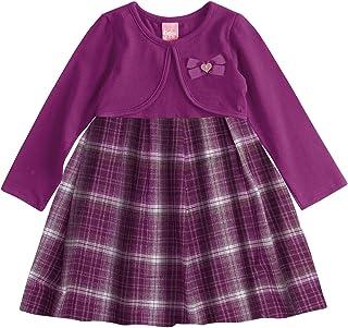 Vestido Kinha Primeiros Passos em Cotton e Flanela Inverno Xadrez Manga Longa