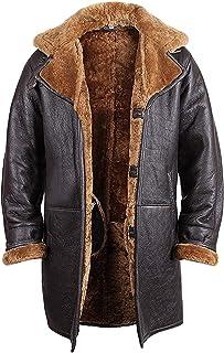 Brandslock Vintage Hombres Shearling Shearling Cuero Marrón Duffle Coat