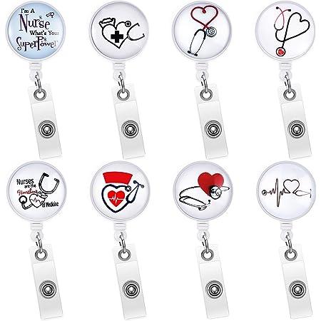 Blue Rose Cameo   Silver Badge reel retractable ID Holder Glasses Key Card Teacher Doctor Nurse