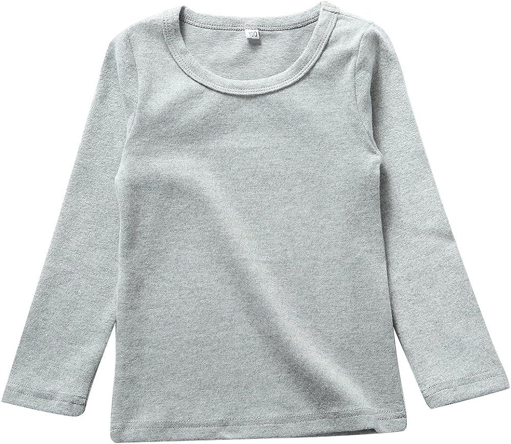 KISBINI Unisex Girls Cotton Long Sleeve T-Shirt Top Tees