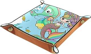 Vockgeng Hippocampe sirène Boîte de Rangement Panier Organisateur de Bureau Plateau décoratif approprié pour Bureau à Domi...