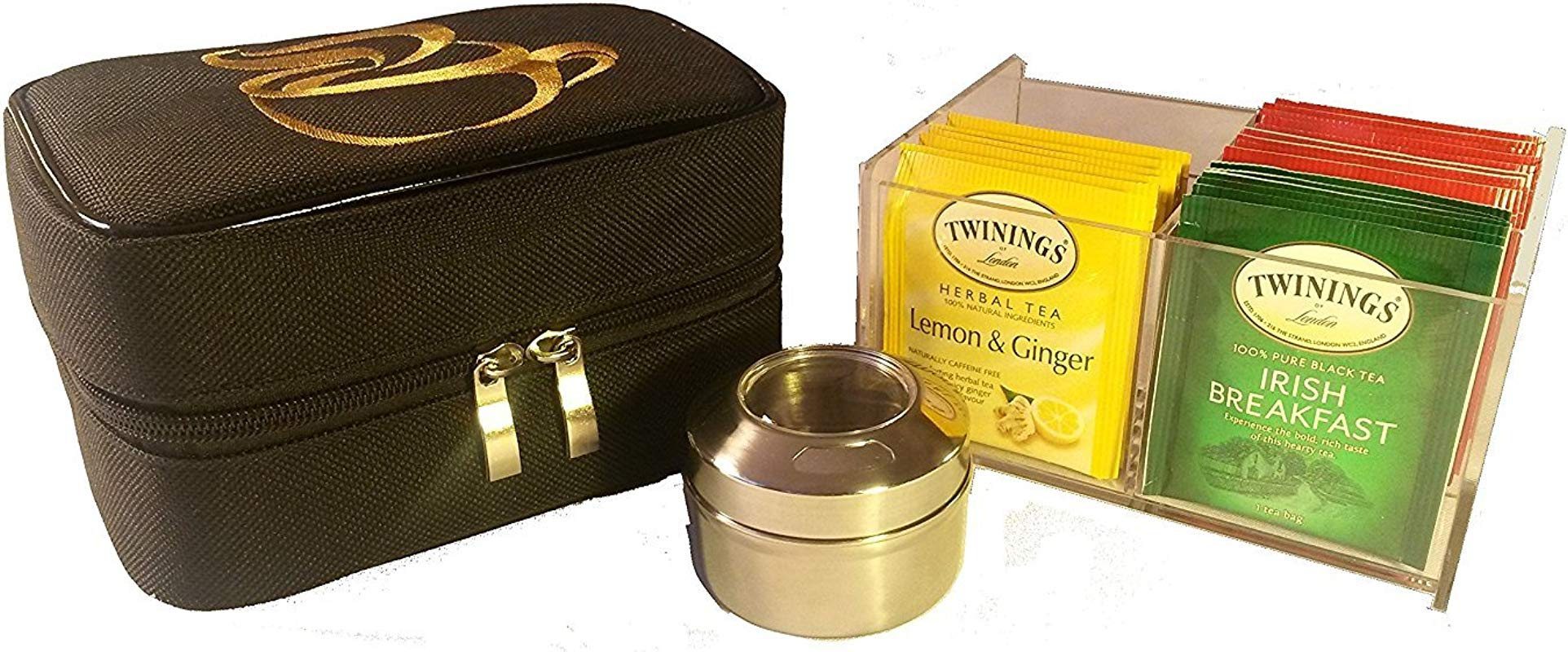 Teacaso Travel Tea Chest Organizer W Tea Bags And Spice Jar Great For Home Office Travel