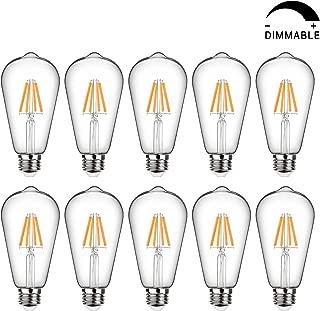 LED Edison Bulb Dimmable, Warm White 2700K, 60W Equivalent, 6W Vintage Light Bulb High Brightness 800 Lumens, Filament Light Bulb, ST64 LED Bulbs, CRI 90+, E26 Base, Clear Glass, Pack of 10