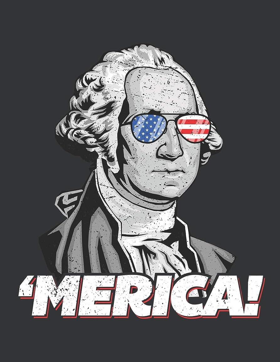 議会バインド支援Notebook: Merica G. Washington American Patriot July 4th Journal & Doodle Diary; 120 Dot Grid Pages for Writing and Drawing - 8.5x11 in.
