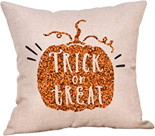 UNBRUVO Halloween Pillow Cases Linen Sofa Pumpkin Ghosts Cushion Cover Home Decor Throw Pillow Cover Farmhouse Thanksgiving Buffalo Pumpkin Truck Cushion Case for Sofa Couch (E)