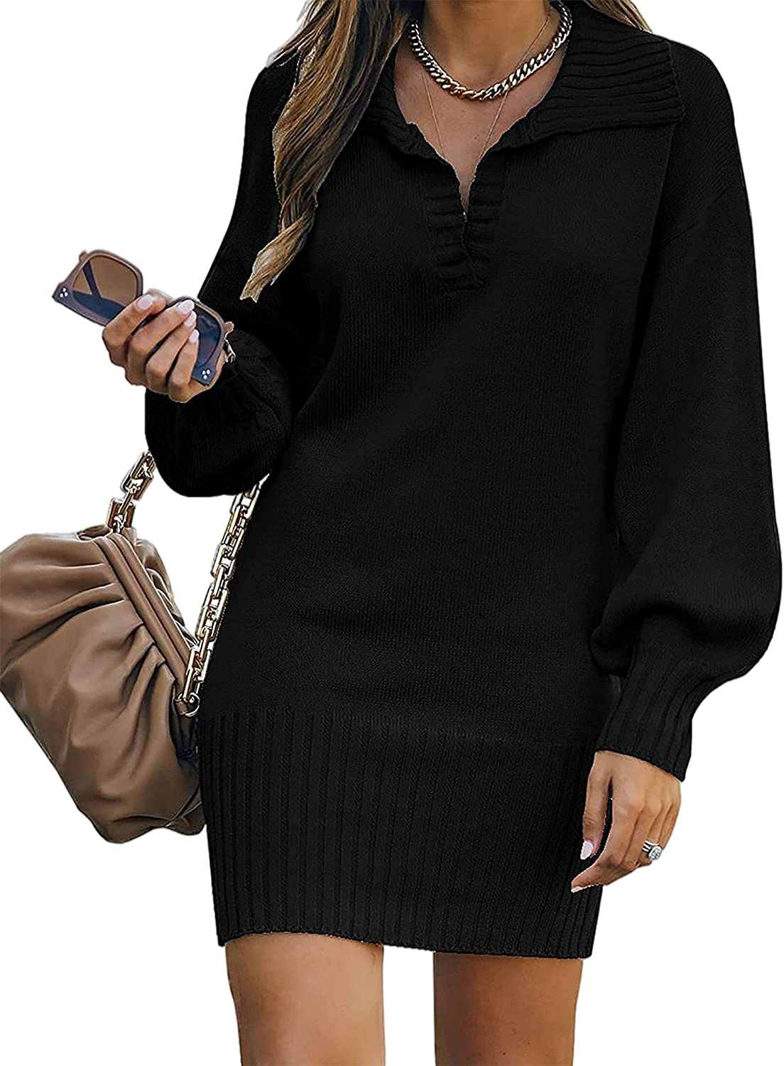 BerryGo Women Half Zip Foldover Collar Long Sleeve Sweater Dresses V Neck Solid Soft Knit Pullover Long Sweaters