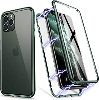 iPhone 11 Pro Max Case, ZHIKE Magnetic Metal Frame Front and Back Tempered Glass Full Screen Coverage One-Piece Design Flip Cover [Support Wireless Charging] [Clear Midnight Green]