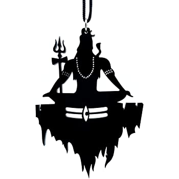 Clean & Clever Car Logo Black Lord Shiva on Kailash Parbat with Third-Eye Hanging Emblem Ornament Decor Accessories