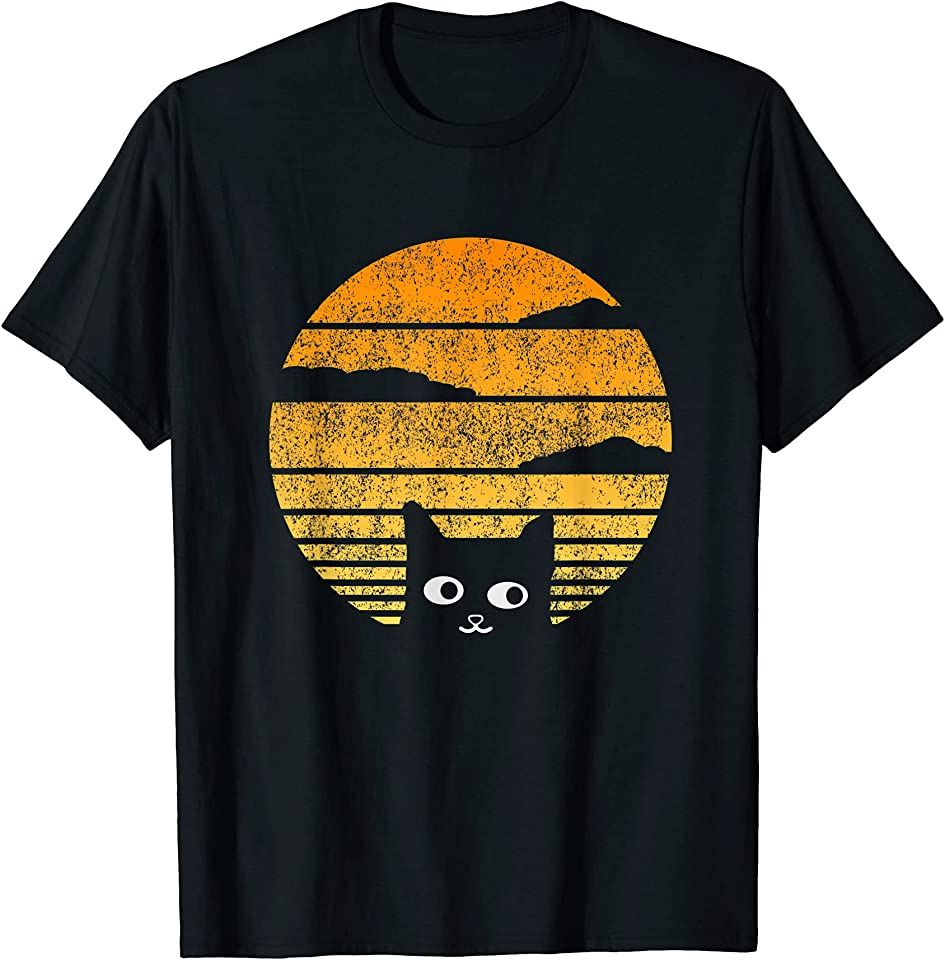 Cool sun and cat outline design for lovers of cats T-Shirt