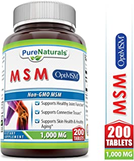 Pure Naturals OptiMSM - 1,000mg, 200 Tablets – * Supports Healthy Joint Function*Supports Connective Tissues* Supports Skin Health & Aging*