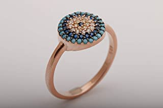 Nazar Protection Turkish Handcrafted Evil Eye Good Luck 925 Sterling Silver Sapphire Turquoise White Topaz Citrine Stone Rose Gold Ring Size Options
