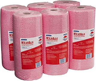 WypAll Colour Coded Wiper Rolls,  Red,  106 Wipers/Roll,  Case of 6 Rolls