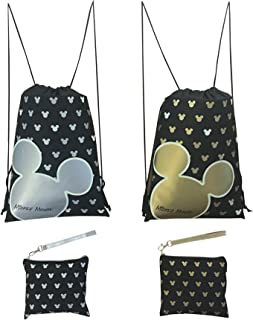 Disney Mickey Mouse Glow in the Dark Drawstring Backpack Pack of 4 (Varied) Includes 2 Drawstrings and 2 Wristlets