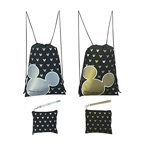 Disney Mickey Mouse Glow in the Dark Drawstring Backpack Pack of 4 (Varied) Includes