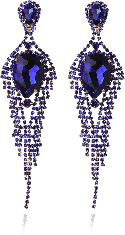 Women's Descending Austrian Crystals Clip On Tear Drop Dangle Cascade Fashion Earrings