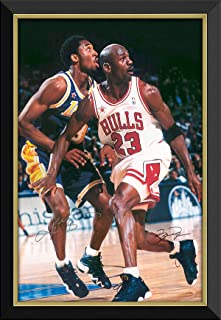 Michael Jordan & Kobe Bryant Framed Canvas - Facsimile Autographs