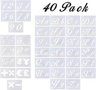 Plantillas de letras de 40 piezas para pintar sobre madera, plantillas de letras con números