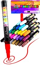 28 Paint Pens - Paint Marker Pens, Water Based Colors for Kids Adults, Sun and Water Resistant Fine Point, Paint on Rock, Wood, Glass, Ceramic, Metal, Clothes, Skin, Almost All Surfaces Model 2019