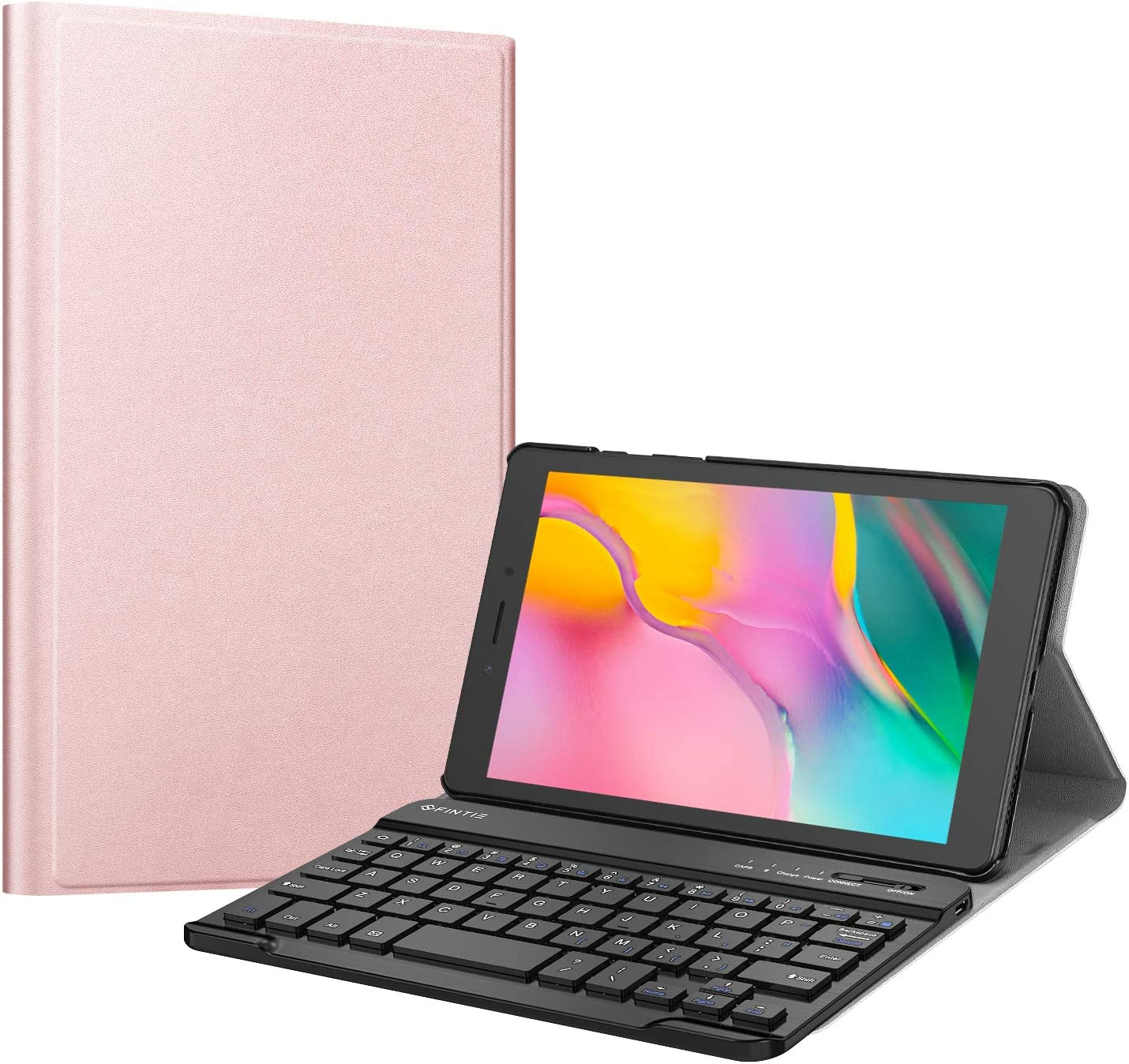Fintie Keyboard Case for Samsung Galaxy Tab A 8.0 2019 Without S Pen Model (SM-T290 Wi-Fi, SM-T295 LTE), Slim Shell Lightweight Stand Cover with Detachable Wireless Bluetooth Keyboard, Rose Gold