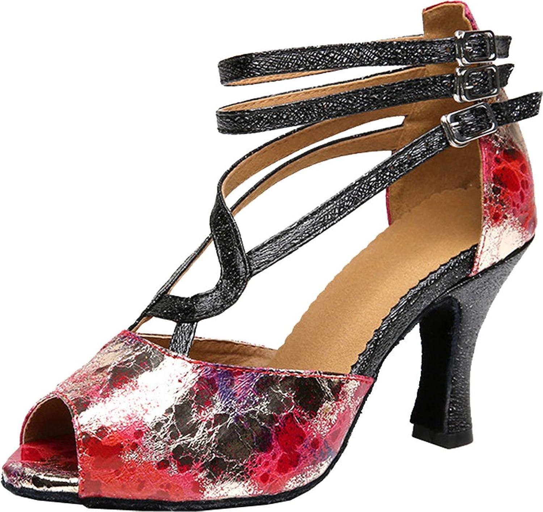 Vimedea Womens Mid Heel Peep Toe Ankle Straps Latin Outdoor Practice Dance shoes LD0108