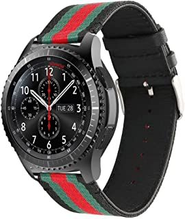 Handygear Sport Band Compatible Gear S3 Frontier Classic Galaxy Watch 46mm Smart Watch, 22mm Nylon Style Leather Sports Replacement Strap Samsung Gear S3 Frontier (S3 Canvas Black)
