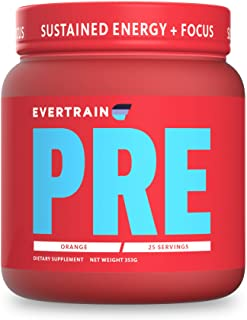 EVERTRAIN PRE - Premium Clean Pre Workout Powder with Natural Flavors and Colors - Strength, Energy, and Muscle Building S...