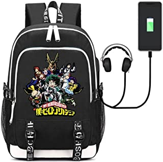 Siawasey My Hero Academia Anime Boku no Hero Academia Cosplay Backpack Daypack Bookbag Laptop School Bag with USB Charging Port