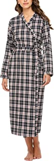 Ekouaer Bath Robes Womens Soft Knit Sleepwear Kimono Collar Long Loungwear S-XXL
