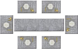 Bright Dream Table Runner and Placemats Set of 6 Kits Long Modern for Dinner Table Colorful Woven Vinyl Heat-resistand 11....