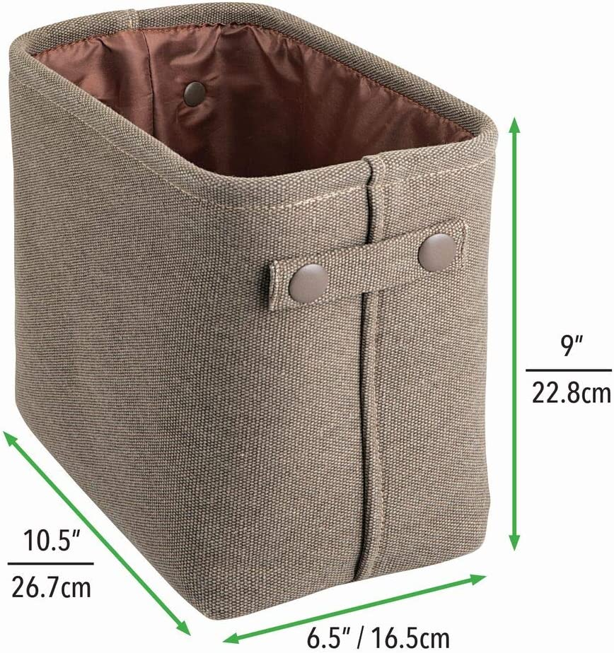 Pack of 2 Espresso//Brown Rectangular with Textured Weave Shelves Cabinets Organizer for Closets mDesign Soft Cotton Fabric Bathroom Storage Bin Basket with Coated Interior and Attached Handles