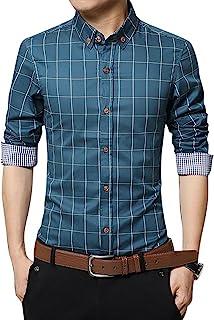 LOCALMODE Men`s 100% Cotton Long Sleeve Plaid Slim Fit Button Down Dress Shirt
