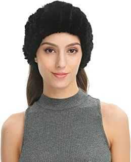 Women's Soft Warm Twill Headband in Real Rex Rabbit Knitted Fur, Convertible Neck Snood Scarf for Winter