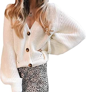 Women's Regular-Fit Casual Long Sleeve Button Down Cable Knit Pullover Sweater Cardigan