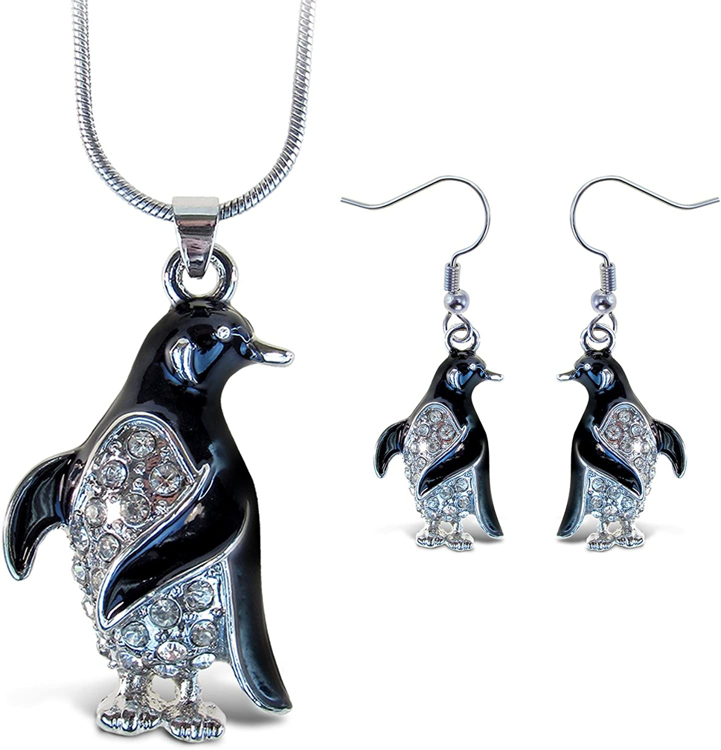Puzzled Sparkling Penguin Necklace and Earrings Set Charming Necklace and Earring Set - Ocean Sea Life Theme - Aqua Jewelry Always Unique Gift - Item #K6319-6369