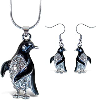 Puzzled Sparkling Penguin Necklace and Earrings Set Charming Necklace and Earring Set - Ocean Sea Life Theme - Aqua Jewelr...