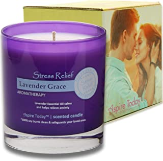 Aspire Today Aromatherapy Stress Relief Candle with Essential Oils of Lavender | 100% Natural Soy Wax | Scented Candle, Se...