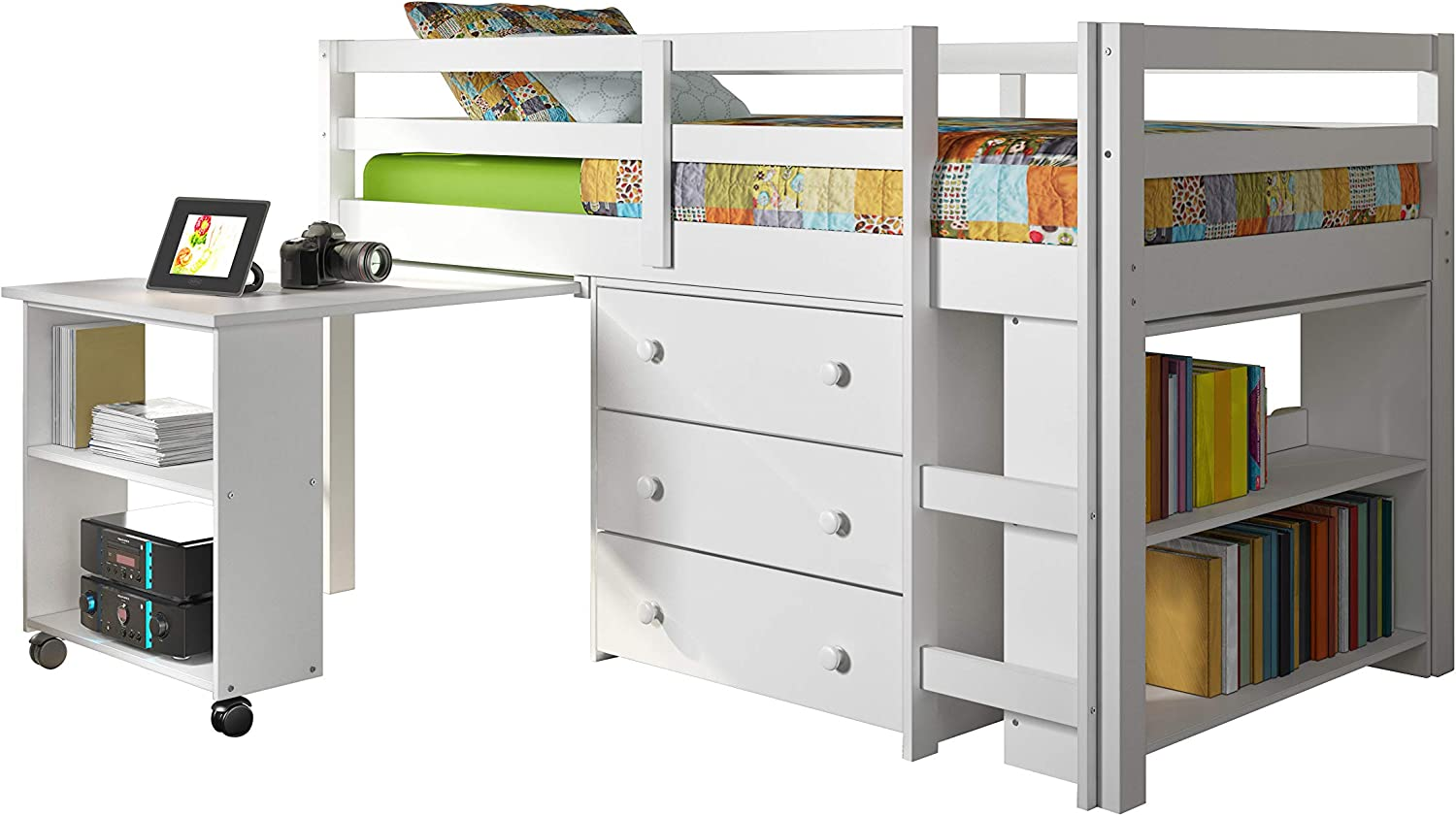 DONCO Clearance SALE! Limited time! kids Low Study Selling Bed White Loft