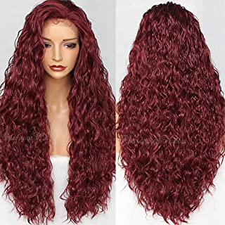 PlatinumHair Burgundy Long Loose Curly Lace Front Wigs for Women Glueless Red Kinky Curls Synthetic Lace Front Wigs with Baby Hair Heat Resistant Fiber Hair Wigs 24 inch