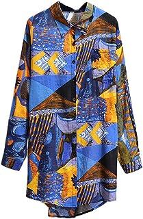 Women's Chiffon Long Shirt Women's Holiday Long Sleeve Top Printed Summer Beach Shirt Suitable for Spring, Autumn