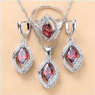 سوار خاتم العقيق مع 4 قطع مجوهرات الزفاف هدايا المجوهرات للنساء يانجين (اللون : مجموعة من 3 قطع، الحجم: 8)