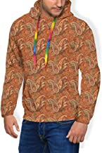 Men's Hoodie Thicken Fluff Sweatshirt,Traditional Old Fashioned Paisley Pattern Floral Design with Leaves