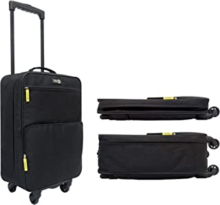 Travel Ready 4-Wheel Collapsible Cabin Carry-on Trolley Bag 55 cms Suitcase Ripstop Polyester Black Color Soft Hand Luggage Approved for Etihad Airways, Emirates, Air Arabia and All The Major Airlines