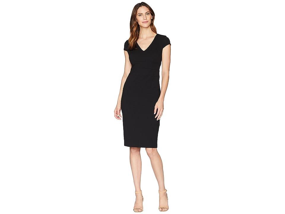 Donna Morgan Crepe Sheath Dress with Cap Sleeve (Black) Women