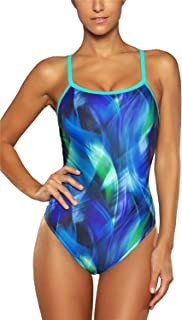 ALove Women's Printed Athletic One Piece Swimsuit Sports Swimwear Training Suit