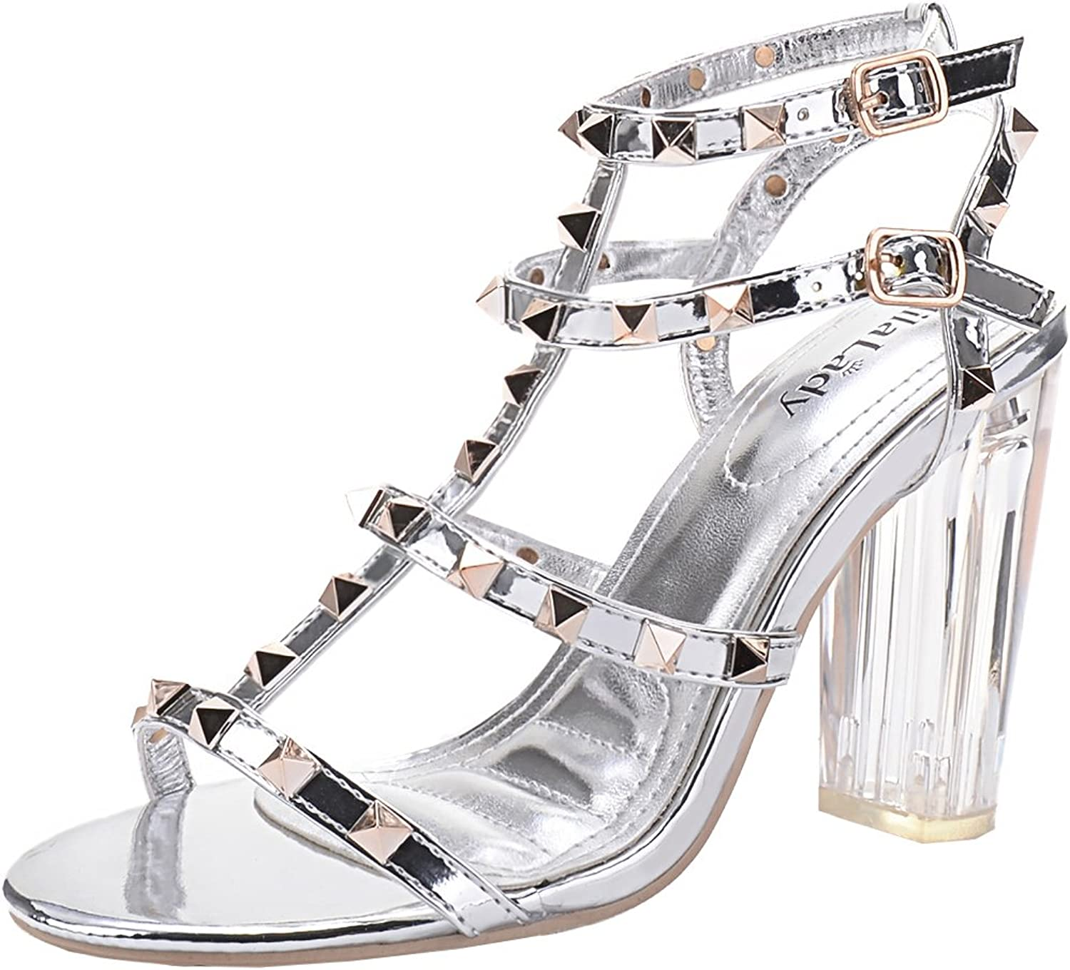 Mila Lady  Erin 08  Women's Studded with Lucite Clear Block Chunky Heel Sandals, Silver 9