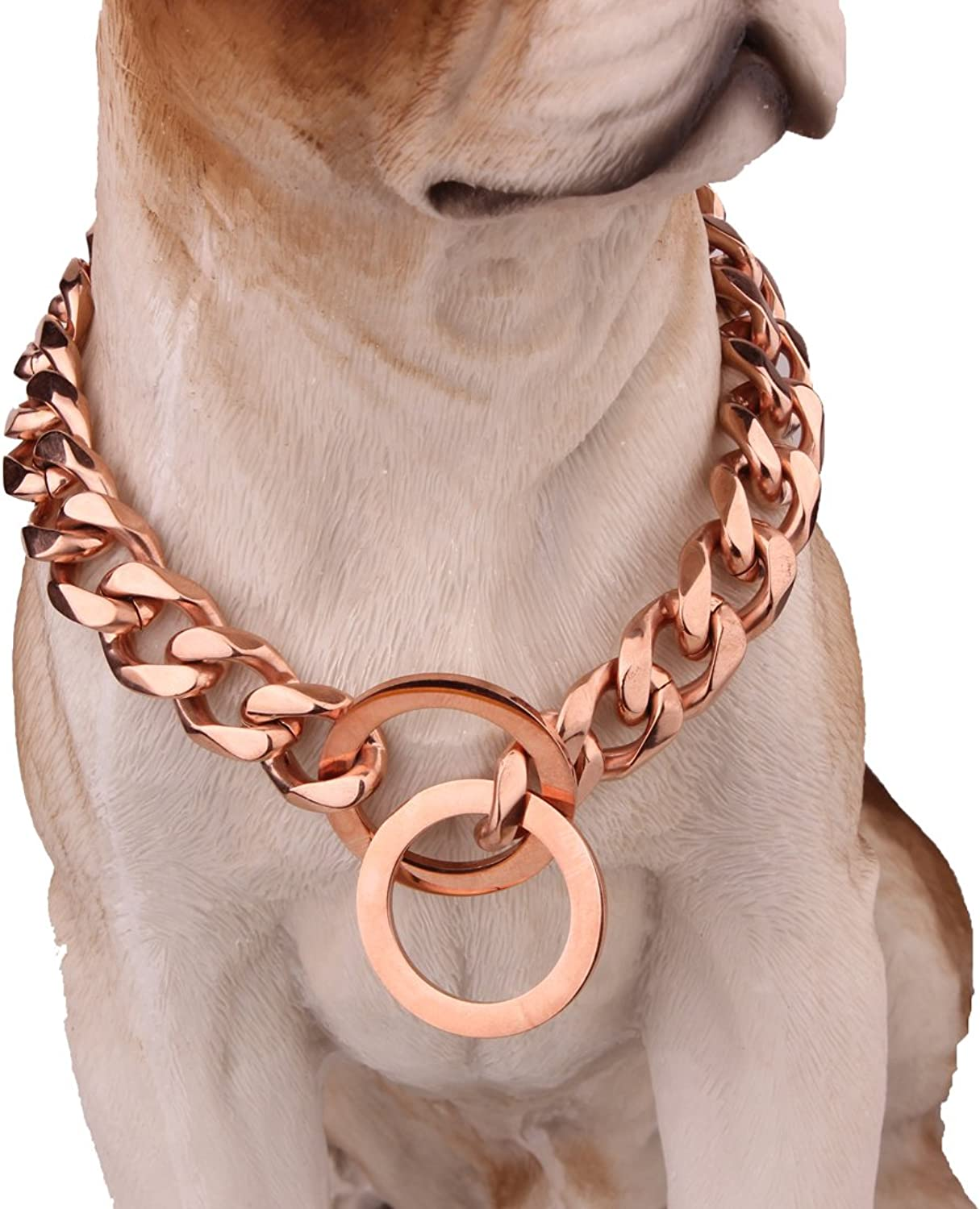 15mm Charm pink gold Fancy Metal Slip Dogs For Strong Dog Stainless Steel Curb Collar 1232inches (26inch)