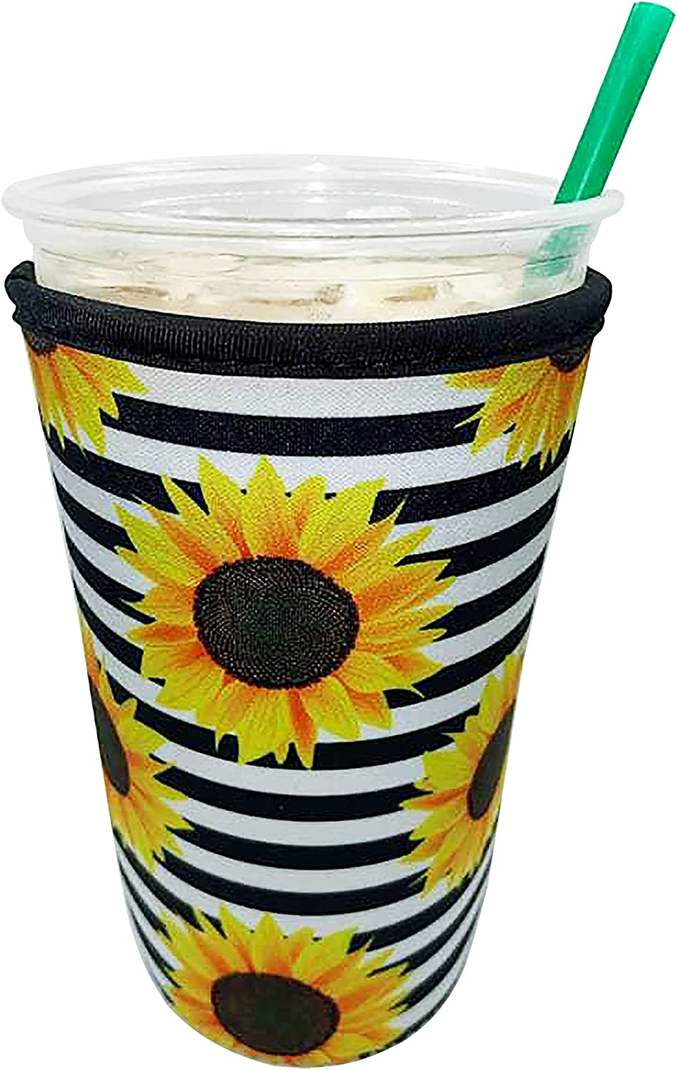 Reusable Iced Coffee Cup Sleeve for Cold Beverages - Insulated Sleeve (Sunflower, Small)
